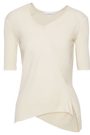 HELMUT LANG Asymmetric ribbed cotton top