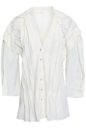 CHLOÉ Lace-paneled crepe de chine shirt