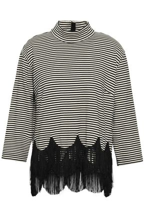 MARC JACOBS Fringed striped cotton-jersey turtleneck top