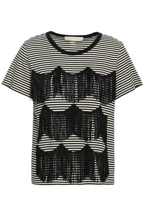 MARC JACOBS Fringed striped cotton-jersey T-shirt