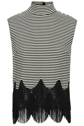 MARC JACOBS Fringe-trimmed striped cotton-jersey turtleneck top