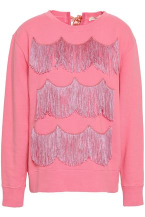 MARC JACOBS Satin-trimmed fringed French cotton-terry sweatshirt