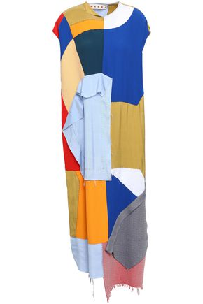 MARNI Patchwork-effect poplin and crepe midi dress