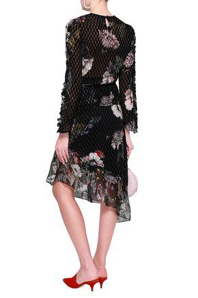 MARKUS LUPFER Mia ruffle-trimmed floral-print devoré-velvet top