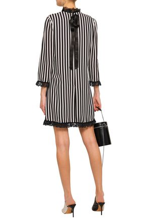 MARC JACOBS Pussy-bow ruffled lace-trimmed striped crepe mini dress