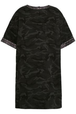 MARC JACOBS Satin-trimmed printed denim mini dress