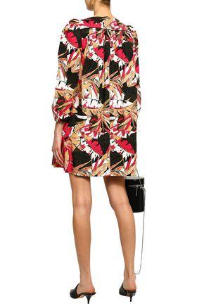 MARC JACOBS Gathered printed stretch-cotton poplin mini dress