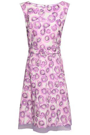 MARC JACOBS Pleated chiffon-trimmed floral-print stretch cotton-poplin dress