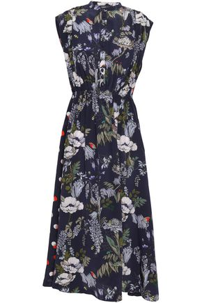 MARKUS LUPFER Gathered floral-print silk crepe de chine midi dress