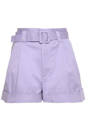 MARC JACOBS Belted pleated cotton-blend twill shorts