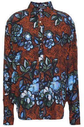 MARKUS LUPFER Fringed floral-print crepe shirt