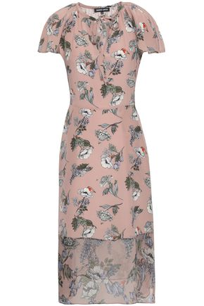MARKUS LUPFER Sade georgette-paneled floral-print silk crepe de chine midi dress