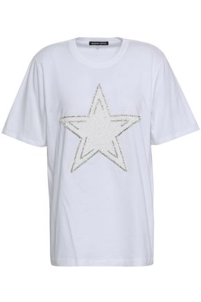 MARKUS LUPFER | Markus Lupfer Sequin And Crystal-Embellished Cotton-Jersey T-Shirt | Goxip