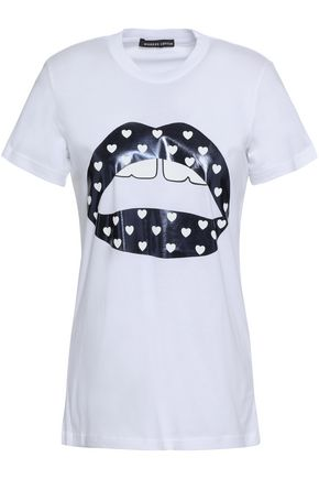 MARKUS LUPFER Kate metallic printed cotton-jersey T-shirt