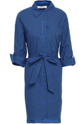 DIANE VON FURSTENBERG Belted striped cotton-blend poplin mini shirt dress