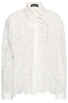 MARKUS LUPFER Caitlin poplin-trimmed cotton-blend guipure lace shirt