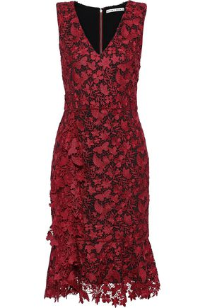 ALICE + OLIVIA Katia fluted guipure lace dress