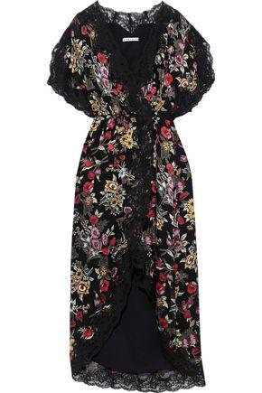 ALICE + OLIVIA Adele floral-print fil coupé chiffon midi wrap dress