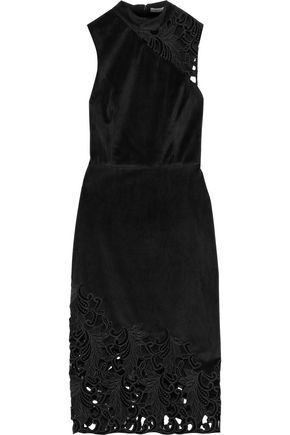 ALICE + OLIVIA Kiana velvet and guipure lace dress
