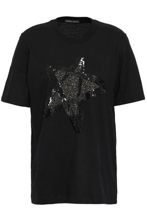 MARKUS LUPFER Alex sequin-embellished cotton-jersey T-shirt