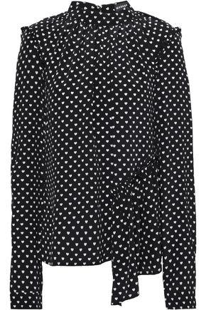 MARKUS LUPFER Colette asymmetric printed silk crepe de chine blouse