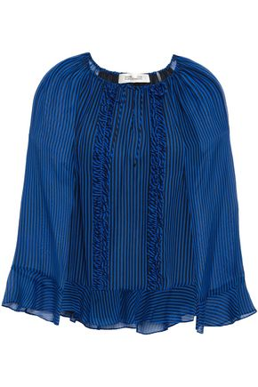 DIANE VON FURSTENBERG Ruffle-trimmed striped silk-georgette blouse