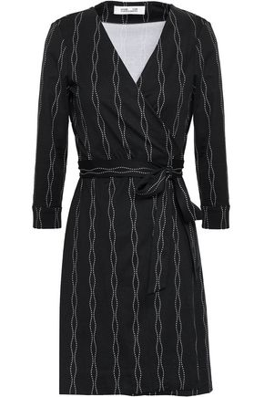 DIANE VON FURSTENBERG Printed silk and cotton-blend jersey mini wrap dress
