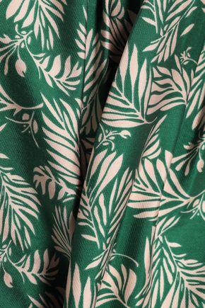 DIANE VON FURSTENBERG Pleated stretch-knit and printed jersey wrap dress