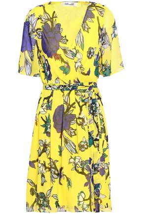 DIANE VON FURSTENBERG Pleated floral-print silk-chiffon mini wrap dress