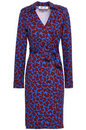 DIANE VON FURSTENBERG Printed silk and cotton-blend jersey wrap dress