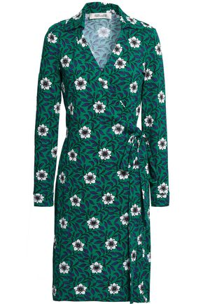 DIANE VON FURSTENBERG Floral-print cotton and silk-blend jersey wrap dress