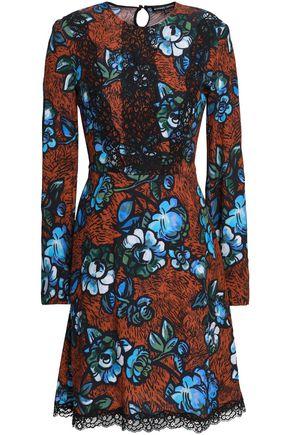 MARKUS LUPFER Lace-trimmed floral-print crepe mini dress