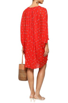 DIANE VON FURSTENBERG Gathered printed silk-chiffon mini dress