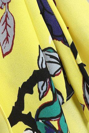 DIANE VON FURSTENBERG Draped floral-print silk-crepe dress