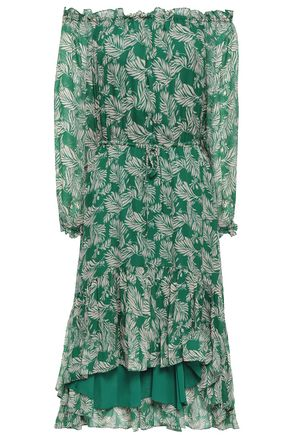 DIANE VON FURSTENBERG Off-the-shoulder printed silk-chiffon dress