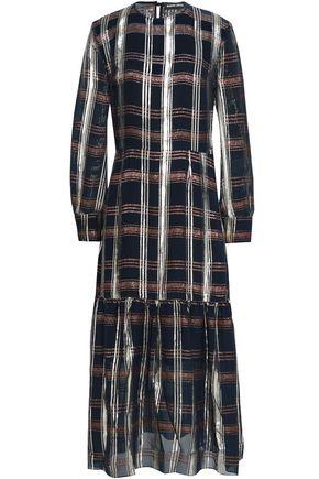 MARKUS LUPFER Metallic checked silk-blend chiffon midi dress