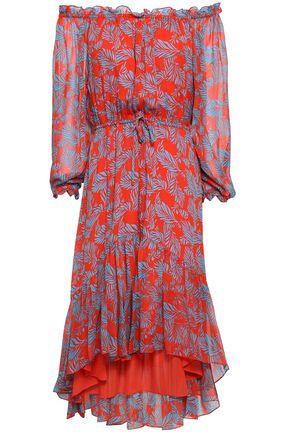DIANE VON FURSTENBERG Off-the-shoulder printed silk-chiffon dress