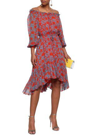 6e8e438af409e DIANE VON FURSTENBERG Off-the-shoulder printed silk-chiffon dress