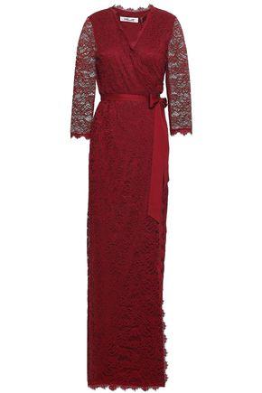 DIANE VON FURSTENBERG Satin-trimmed corded lace wrap gown