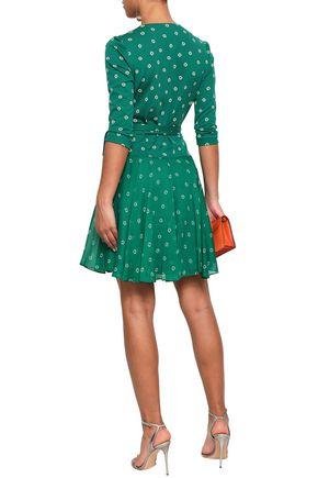 DIANE VON FURSTENBERG Printed cotton and silk-blend jersey and georgette mini wrap dress