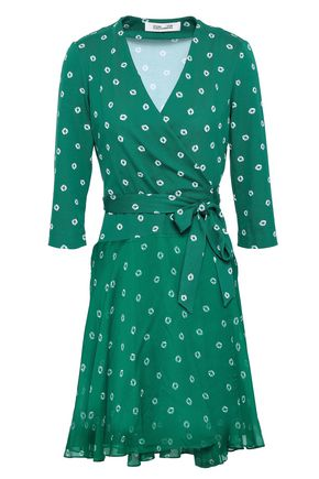 DIANE VON FURSTENBERG Printed cotton and silk-blend jersey and georgette mini wrap dress