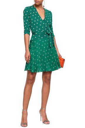 8c31d0e0f9c9e DIANE VON FURSTENBERG Printed cotton and silk-blend jersey and georgette  mini wrap dress