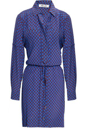 DIANE VON FURSTENBERG Printed silk mini shirt dress
