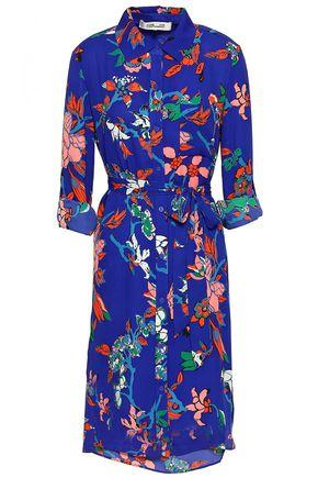 DIANE VON FURSTENBERG Belted floral-print crepe shirt dress