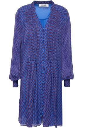 DIANE VON FURSTENBERG Pintucked printed silk-chiffon mini dress