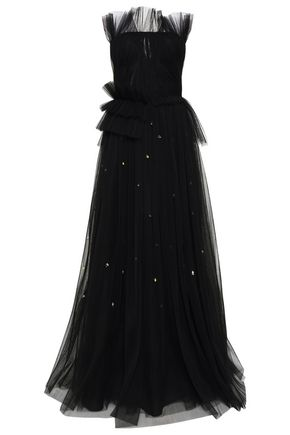 JASON WU Embellished flared plissé-tulle gown