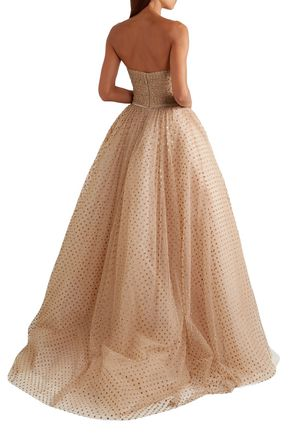 MONIQUE LHUILLIER Strapless glittered polka-dot tulle gown