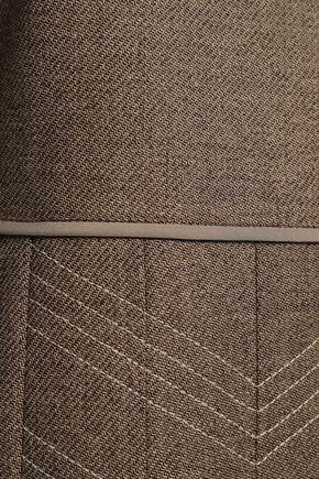 FENDI 装飾付き サテン&プリーツ加工ウール混 ミディワンピース