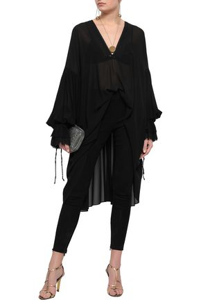 SAINT LAURENT Frayed draped silk-georgette tunic