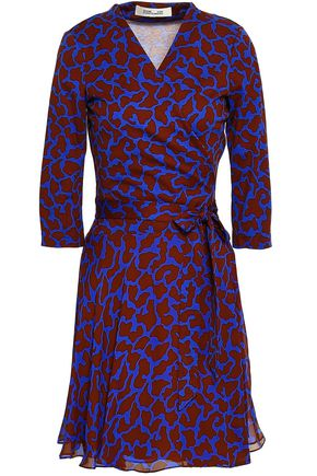 DIANE VON FURSTENBERG Leopard-print silk and cotton-blend jersey and georgette mini wrap dress